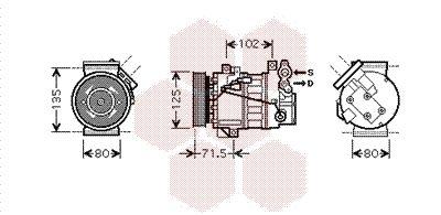 4300K393 VAN WEZEL Kältemittel: R 134a Riemenscheiben-Ø: 120mm, Anzahl der Rillen: 6 Kompressor, Klimaanlage 4300K393 günstig kaufen