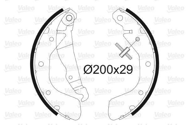 562077 VALEO Hinterachse, ohne Radbremszylinder Trommel-Ø: 200mm, Breite: 29mm Bremsbackensatz 562077 günstig kaufen