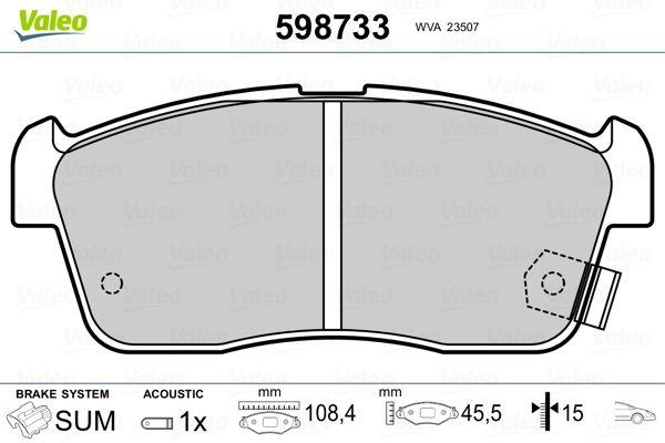 23507 VALEO Vorderachse, inkl. Verschleißwarnkontakt, mit akustischer Verschleißwarnung Höhe 1: 45,45mm, Breite 1: 108,4mm, Dicke/Stärke 1: 15mm Bremsbelagsatz, Scheibenbremse 598733 günstig kaufen