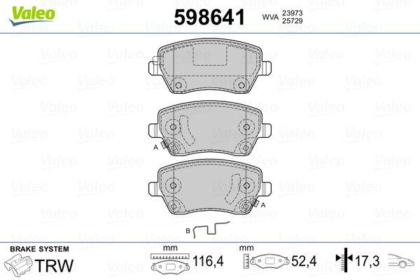 Pieces d'origine: Kit de plaquettes de frein, frein à disque VALEO 598641 (Hauteur: 52,4mm, Largeur: 116,4mm, Épaisseur: 17,3mm) - Achetez tout de suite!