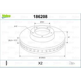 DF498 VALEO Vorderachse, belüftet Ø: 258,5mm, Felge: 4-loch, Bremsscheibendicke: 20,6mm Bremsscheibe 186208 günstig kaufen