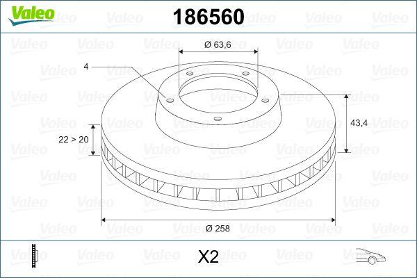 Disques de frein 186560 VALEO — seulement des pièces neuves