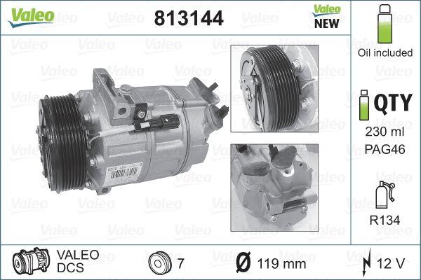 VALEO: Original Klimakompressor 813144 (Riemenscheiben-Ø: 119mm, Anzahl der Rillen: 7)