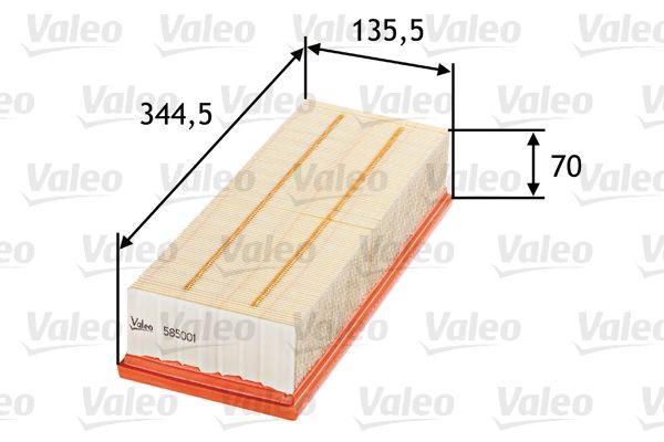 585001 VALEO Filtereinsatz Länge: 344,5mm, Länge: 344,5mm, Breite: 135,5mm, Höhe: 70mm Luftfilter 585001 günstig kaufen