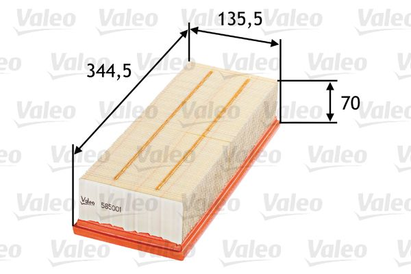 Achetez Filtre à air VALEO 585001 (Longueur: 344,5, 345mm, Longueur: 344,5, 345mm, Largeur: 136mm, Hauteur: 70mm) à un rapport qualité-prix exceptionnel