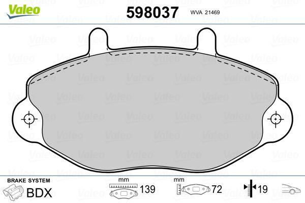 Bremsbelagsatz VALEO 598037