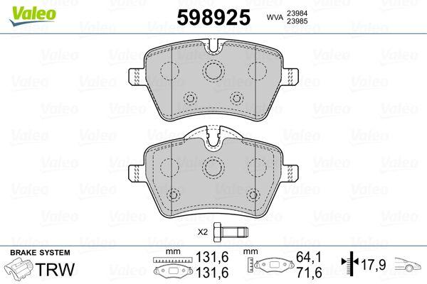 Bremsbelagsatz Mini Paceman R61 hinten + vorne 2014 - VALEO 598925 (Höhe 2: 72mm, Höhe: 64,1mm, Breite 2: 131,6mm, Breite: 131,6mm, Dicke/Stärke 2: 17,9mm, Dicke/Stärke: 17,9mm)