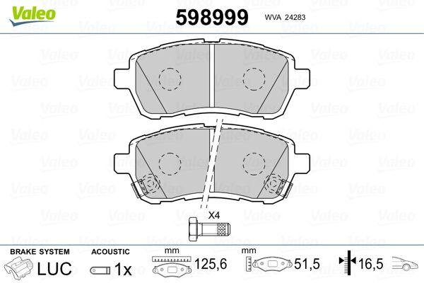 Origine Système de freinage VALEO 598999 (Hauteur: 51,5mm, Largeur: 125,6mm, Épaisseur: 16,5mm)