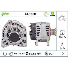 440358 VALEO 14V, 150A, mit integriertem Regler, REMANUFACTURED PREMIUM Rippenanzahl: 7 Generator 440358 günstig kaufen