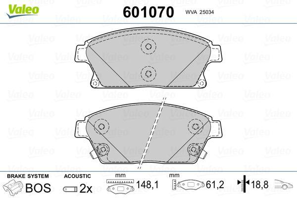 Bremsbelagsatz Scheibenbremse VALEO 601070