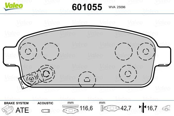 NISSAN ROGUE 2013 Bremsbelagsatz - Original VALEO 601055 Höhe 2: 42,7mm, Höhe: 42,7mm, Breite 2: 116,6mm, Breite: 116,6mm, Dicke/Stärke 2: 16,7mm, Dicke/Stärke: 16,3mm