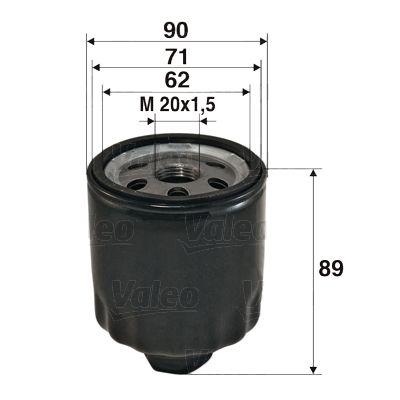 586004 VALEO Anschraubfilter Innendurchmesser 2: 71mm, Innendurchmesser 2: 62mm, Ø: 90mm, Höhe: 89mm Ölfilter 586004 günstig kaufen
