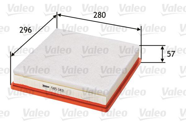 Achetez Filtre à air VALEO 585143 (Longueur: 296mm, Longueur: 296mm, Largeur: 282mm, Hauteur: 63mm) à un rapport qualité-prix exceptionnel