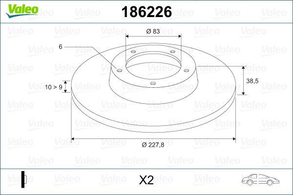 Achetez Disques de frein VALEO 186226 (Ø: 227,8mm, Jante: 6Trou, Épaisseur du disque de frein: 10mm) à un rapport qualité-prix exceptionnel