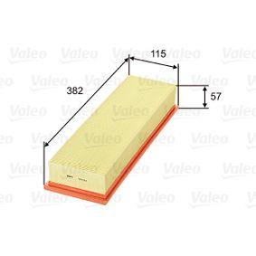 585014 VALEO Länge: 382mm, Breite: 115mm, Höhe: 57mm Luftfilter 585014 günstig kaufen