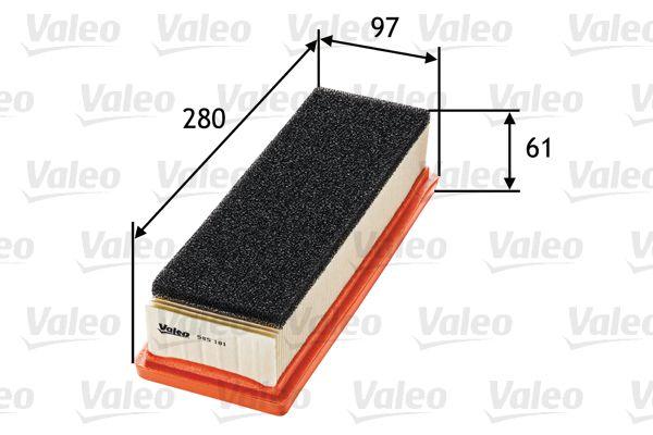 Origine Filtre à air VALEO 585181 (Longueur: 280mm, Longueur: 280mm, Largeur: 97mm, Hauteur: 61mm)