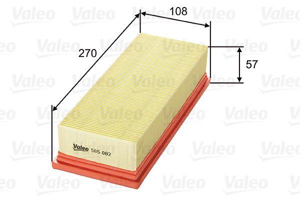 VALEO: Original Motorluftfilter 585082 (Länge: 270mm, Länge: 270mm, Breite: 108mm, Höhe: 57mm)