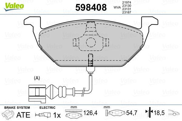 Acheter Plaquettes de frein Hauteur: 54,8mm, Largeur: 146,1mm, Épaisseur: 19,5mm VALEO 598408 à tout moment