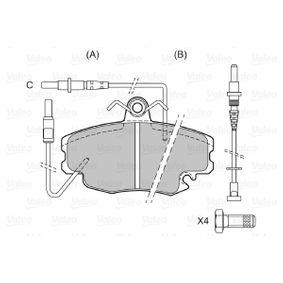 598002 Bremsbelagsatz, Scheibenbremse VALEO in Original Qualität