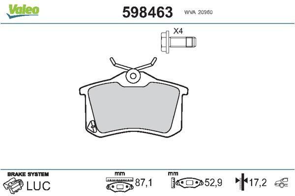598463 Bremsbelagsatz, Scheibenbremse VALEO Test