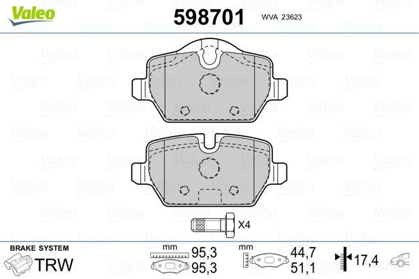 Bremsbelagsatz Scheibenbremse VALEO 598701