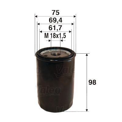 VALEO: Original Ölfilter 586078 (Innendurchmesser 2: 69,4mm, Innendurchmesser 2: 61,7mm, Ø: 75mm, Höhe: 98mm)