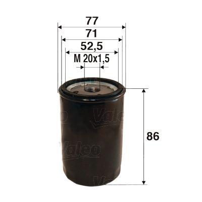 Achat de 586002 VALEO Filtre vissé Diamètre intérieur 2: 71mm, Diamètre intérieur 2: 62,5mm, Ø: 77mm, Hauteur: 86mm Filtre à huile 586002 pas chères