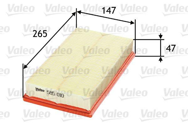 FORD FOCUS 2018 Motorluftfilter - Original VALEO 585010 Länge: 265mm, Länge: 265mm, Breite: 147mm, Höhe: 47mm