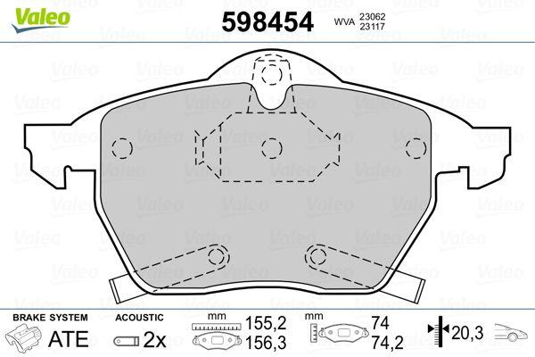 Bremsbelagsatz Scheibenbremse VALEO 598454