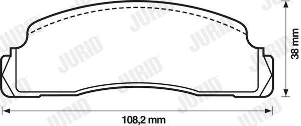 Bremsklötze FORD Fiesta Mk1 Kastenwagen (WFVT) hinten + vorne 1980 - JURID 571244D (Höhe 1: 38mm, Dicke/Stärke: 17,5mm)