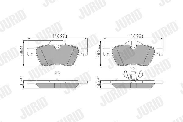 571992 JURID für Verschleißwarnanzeiger vorbereitet, mit Kolbenclip, ohne Zubehör Höhe 1: 60mm, Dicke/Stärke: 18mm Bremsbelagsatz, Scheibenbremse 571992J günstig kaufen