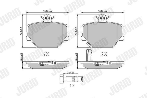SMART CROSSBLADE 2002 Bremsbelagsatz - Original JURID 571995J Höhe 1: 70mm, Dicke/Stärke: 15,6mm