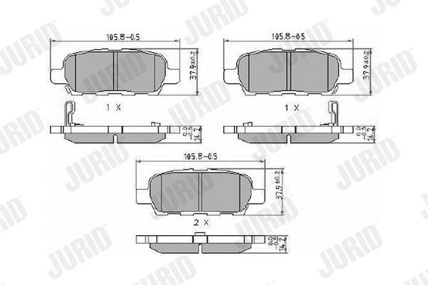 NISSAN VERSA 2014 Tuning - Original JURID 572501J Höhe 1: 38mm, Dicke/Stärke: 14mm