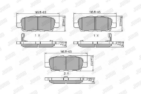 Bremsbeläge NISSAN Murano III (Z52) hinten + vorne 2016 - JURID 572501J (Höhe 1: 38mm, Dicke/Stärke: 14mm)