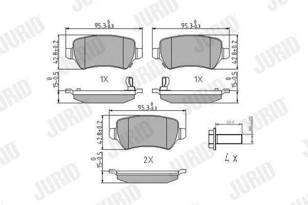 573122 JURID mit akustischer Verschleißwarnung, ohne Zubehör Höhe 1: 43mm, Dicke/Stärke: 15,2mm Bremsbelagsatz, Scheibenbremse 573122J günstig kaufen