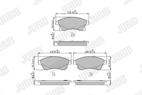573332 JURID mit akustischer Verschleißwarnung, ohne Zubehör Höhe 1: 60mm, Dicke/Stärke: 18,8mm Bremsbelagsatz, Scheibenbremse 573332J günstig kaufen
