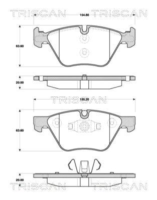 8110 11029 TRISCAN nicht für Verschleißwarnanzeiger vorbereitet Höhe: 63,6mm, Dicke/Stärke: 20mm Bremsbelagsatz, Scheibenbremse 8110 11029 günstig kaufen