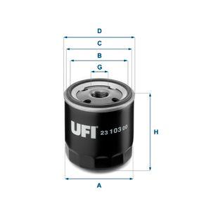 23.103.00 UFI Innendurchmesser 2: 62,0mm, Ø: 75,0mm, Außendurchmesser 2: 71,5mm, Höhe: 86,5mm Ölfilter 23.103.00 günstig kaufen