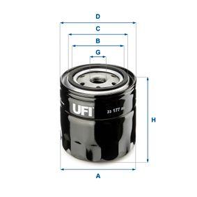 Купете UFI с един възвратен клапан вътрешен диаметър 2: 62,0мм, Ø: 96,0мм, външен диаметър 2: 72,0мм, височина: 96,5мм Маслен филтър 23.177.00 евтино