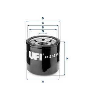 23.258.00 UFI mit einem Rücklaufsperrventil Innendurchmesser 2: 56,0mm, Ø: 68,0mm, Außendurchmesser 2: 64,0mm, Höhe: 66,0mm Ölfilter 23.258.00 günstig kaufen