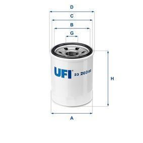 23.260.00 UFI mit zwei Rücklaufsperrventilen Innendurchmesser 2: 57,5mm, Ø: 68,0mm, Außendurchmesser 2: 65,5mm, Höhe: 85,5mm Ölfilter 23.260.00 günstig kaufen