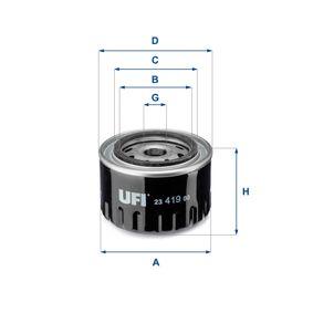 Купете 23.419.00 UFI с един възвратен клапан вътрешен диаметър 2: 61,5мм, Ø: 96,5мм, външен диаметър 2: 71,5мм, височина: 70,0мм Маслен филтър 23.419.00 евтино