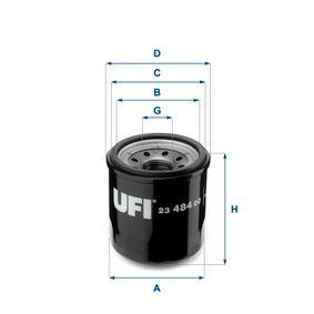 23.484.00 UFI com uma válvula de retenção Diâmetro interior 2: 54,0mm, Ø: 66,0mm, Diâmetro exterior 2: 62,0mm, Altura: 71,0mm Filtro de óleo 23.484.00 comprar económica