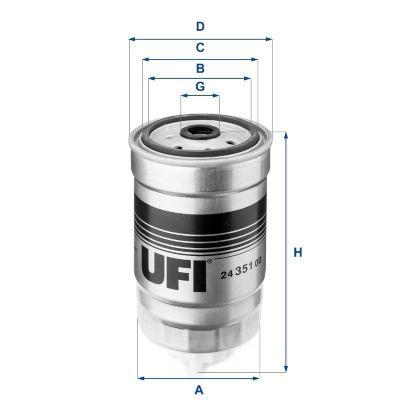 ROVER 800 1995 Spritfilter - Original UFI 24.351.00 Höhe: 152,0mm