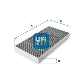 54.100.00 UFI Charcoal Filter Width: 163,0mm, Height: 31,0mm, Length: 331,0mm Filter, interior air 54.100.00 cheap