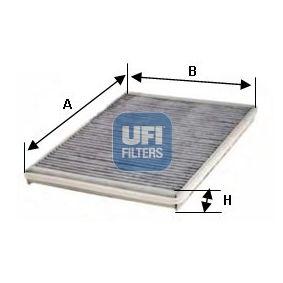 54.102.00 UFI Charcoal Filter Width: 240,0mm, Height: 35,0mm, Length: 350,5mm Filter, interior air 54.102.00 cheap