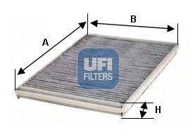 Купете 54.116.00 UFI филтър с активен въглен ширина: 148,5мм, височина: 30мм, дължина: 340мм Филтър, въздух за вътрешно пространство 54.116.00 евтино