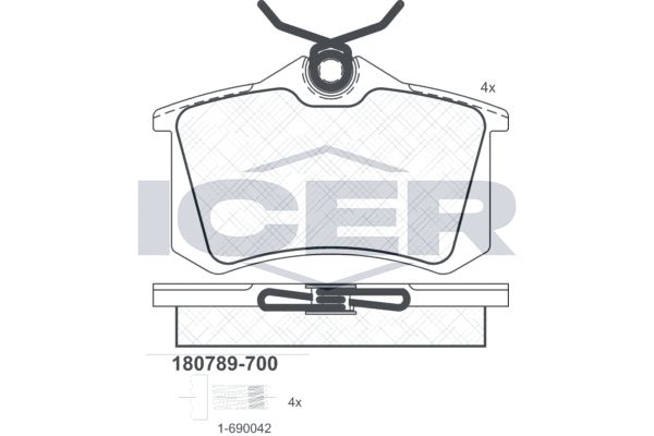 D3407234 ICER Achsausf.: Rear Höhe: 52,9mm, Breite: 87,1mm, Dicke/Stärke: 15,2mm Bremsbelagsatz, Scheibenbremse 180789-700 günstig kaufen