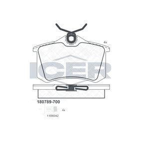 D3407234 ICER Achsausf.: Rear Höhe: 52,9mm, Dicke/Stärke: 15,2mm Bremsbelagsatz, Scheibenbremse 180789-700 günstig kaufen