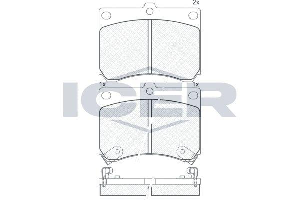 FORD USA ESCORT 2001 Bremsbelagsatz - Original ICER 180879 Höhe: 70,5mm, Breite: 91,6mm, Dicke/Stärke: 15mm